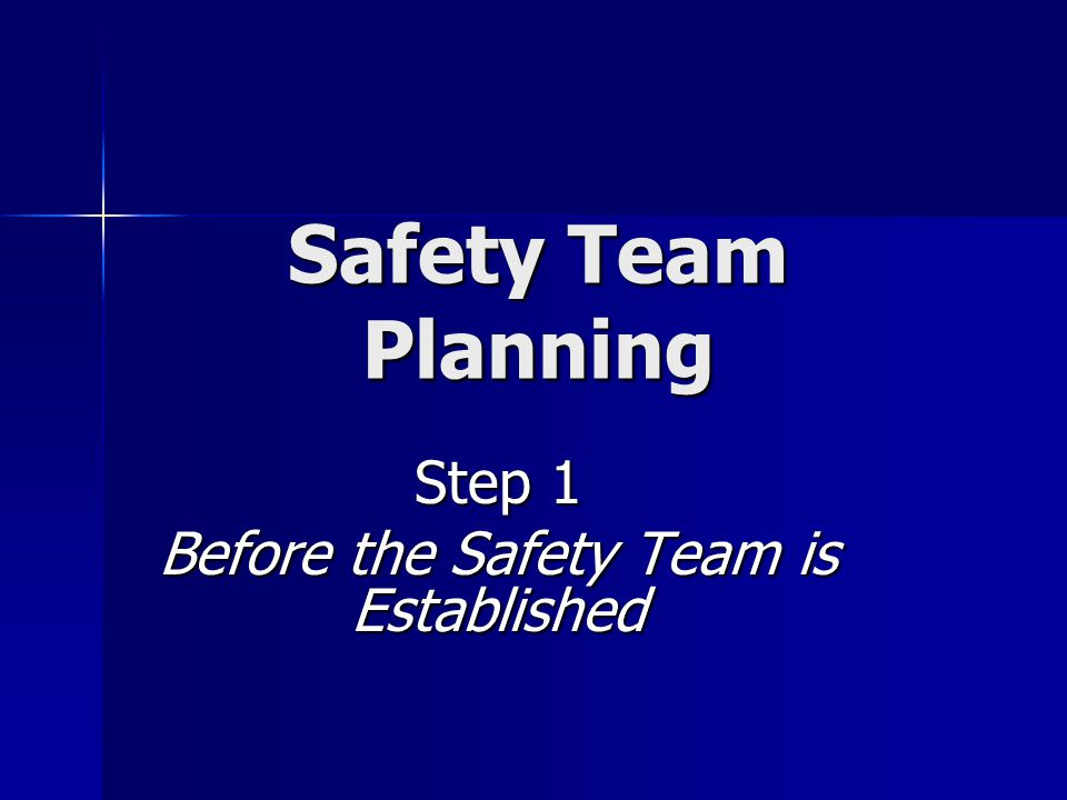 Safety Team Planning Step 1 Before the Safety Team is Established
