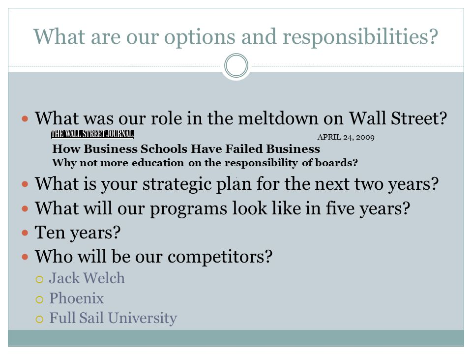 What are our options and responsibilities. What was our role in the meltdown on Wall Street.