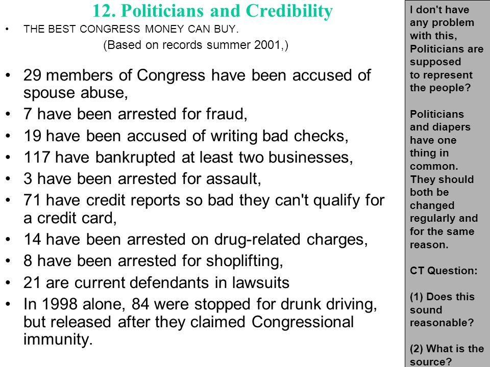 12. Politicians and Credibility THE BEST CONGRESS MONEY CAN BUY.