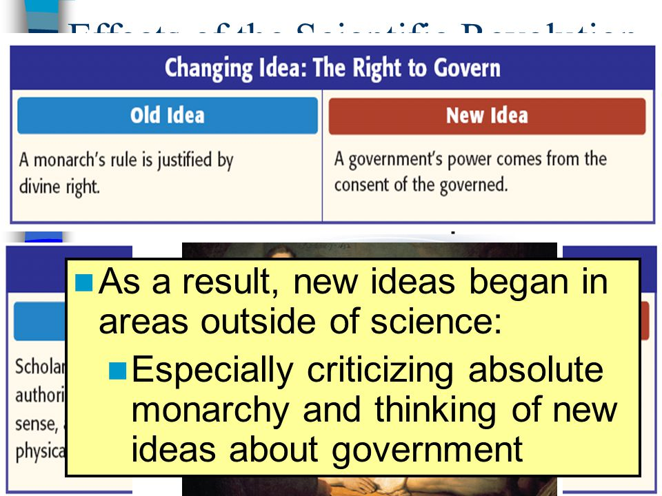 Effects of the Scientific Revolution During the Scientific Revolution, people began to believe that the scientific method allowed them to find answers