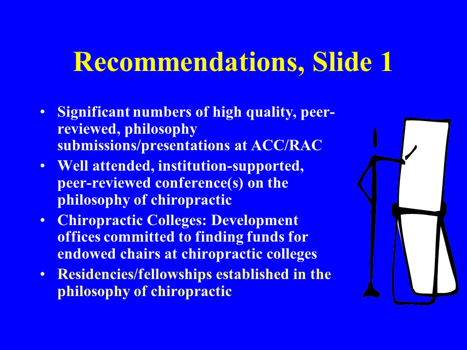 Recommendations, Slide 1 Significant numbers of high quality, peer- reviewed, philosophy submissions/presentations at ACC/RAC Well attended, instituti