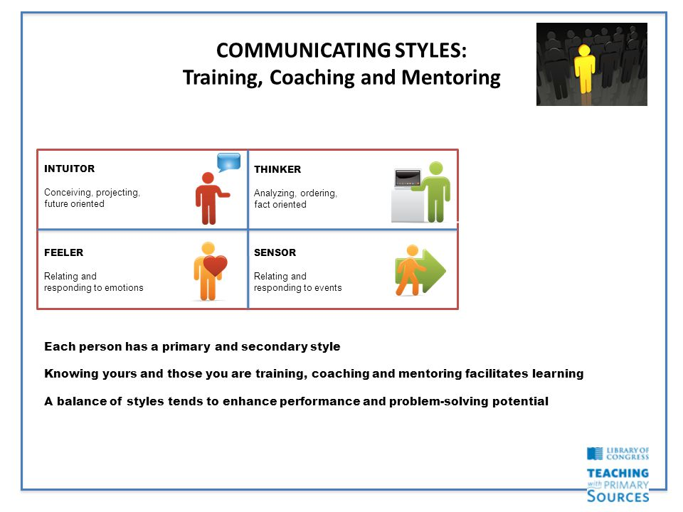COMMUNICATING STYLES: Training, Coaching and Mentoring Each person has a primary and secondary style Knowing yours and those you are training, coaching and mentoring facilitates learning A balance of styles tends to enhance performance and problem-solving potential INTUITOR Conceiving, projecting, future oriented THINKER Analyzing, ordering, fact oriented SENSOR Relating and responding to events FEELER Relating and responding to emotions