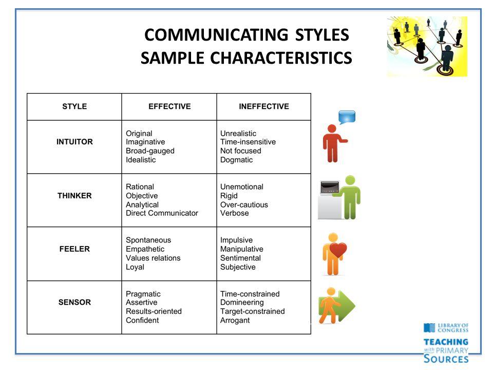COMMUNICATING STYLES SAMPLE CHARACTERISTICS