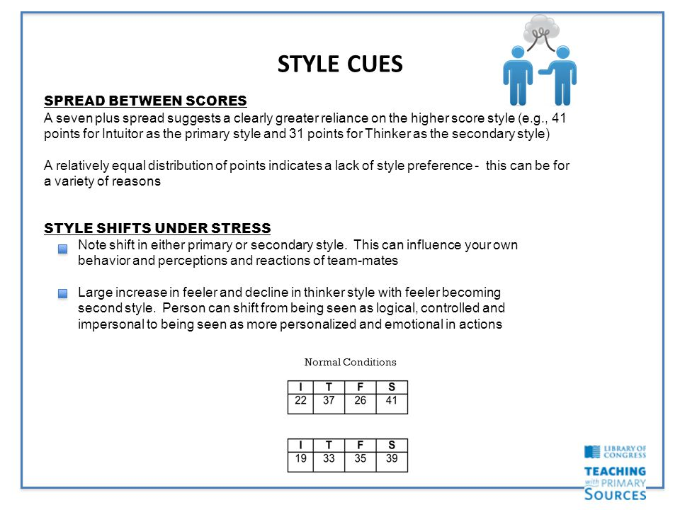 STYLE CUES SPREAD BETWEEN SCORES A seven plus spread suggests a clearly greater reliance on the higher score style (e.g., 41 points for Intuitor as the primary style and 31 points for Thinker as the secondary style) A relatively equal distribution of points indicates a lack of style preference - this can be for a variety of reasons STYLE SHIFTS UNDER STRESS Note shift in either primary or secondary style.