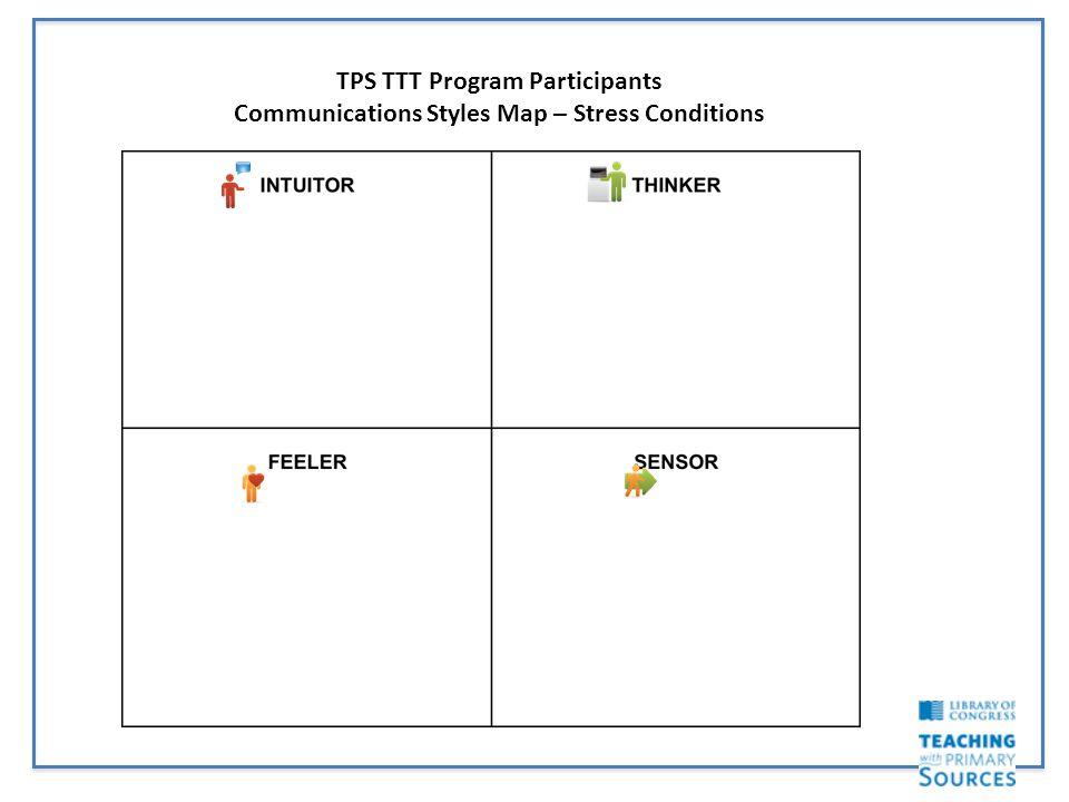 TPS TTT Program Participants Communications Styles Map – Stress Conditions