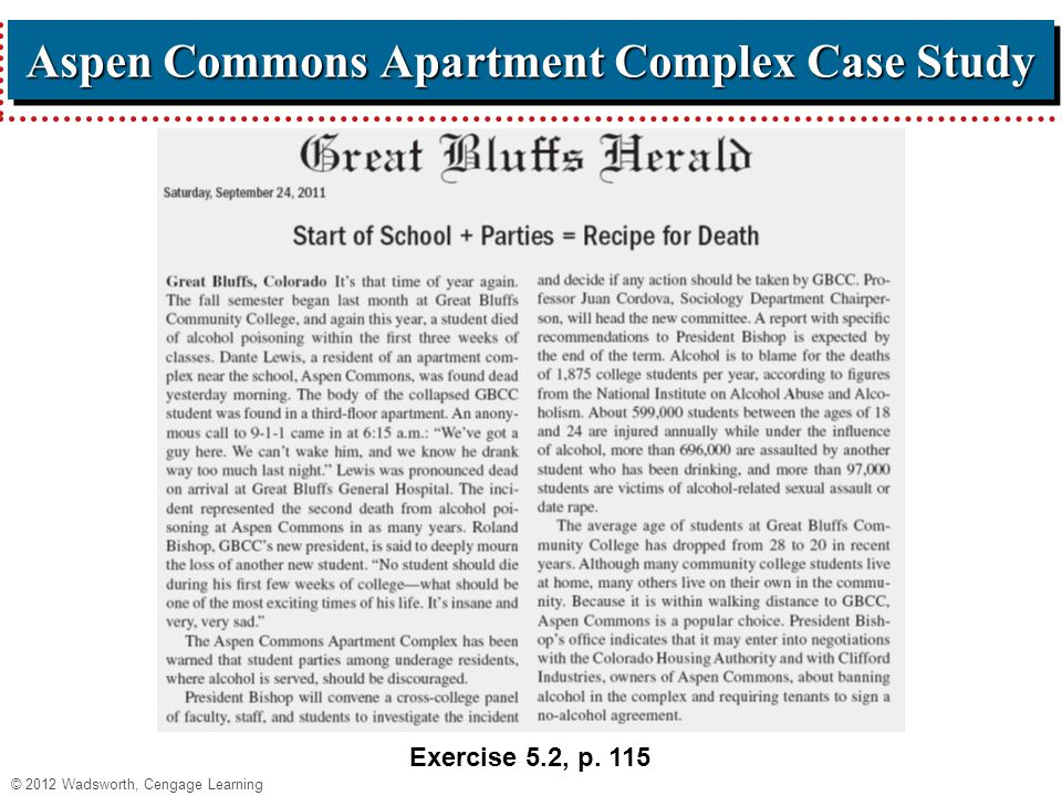 © 2012 Wadsworth, Cengage Learning Aspen Commons Apartment Complex Case Study Exercise 5.2, p. 115