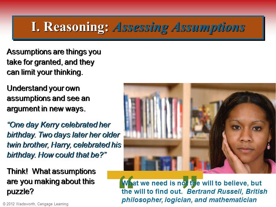 © 2012 Wadsworth, Cengage Learning I.