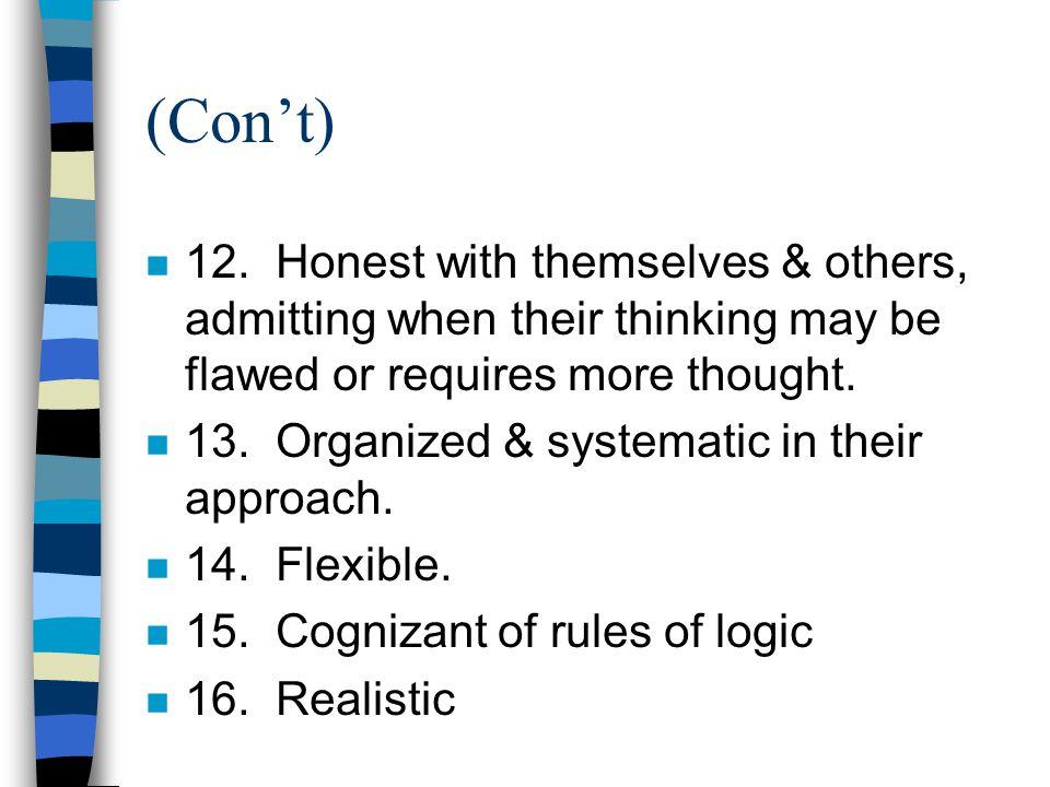 (Con't) n 12.