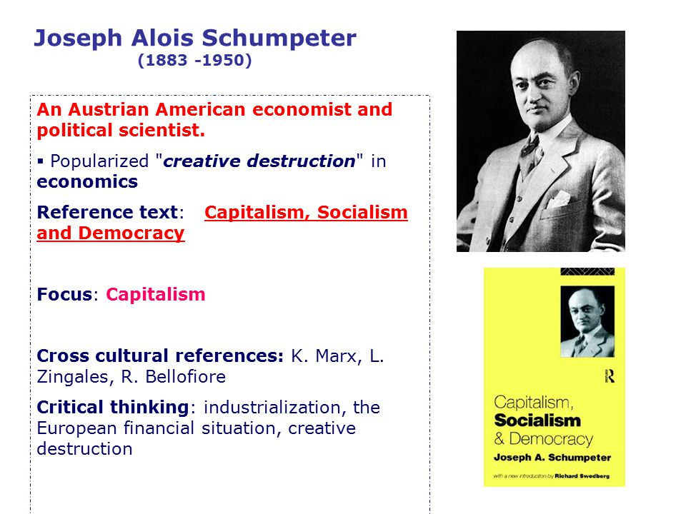 Joseph Alois Schumpeter (1883 -1950) An Austrian American economist and political scientist.  Popularized