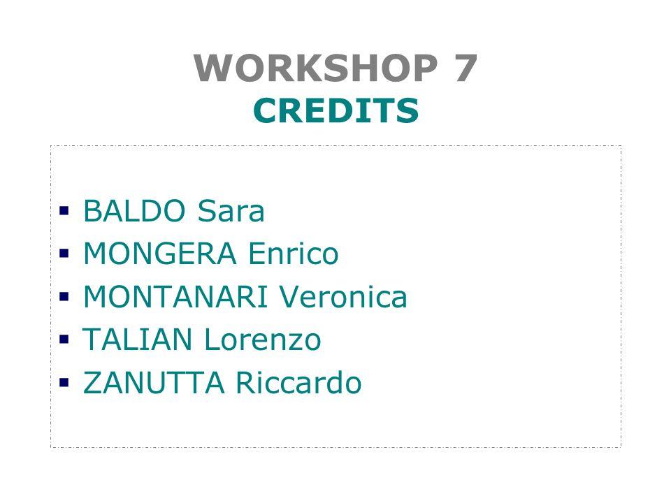 WORKSHOP 7 CREDITS  BALDO Sara  MONGERA Enrico  MONTANARI Veronica  TALIAN Lorenzo  ZANUTTA Riccardo