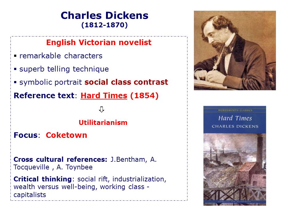 Charles Dickens (1812-1870) English Victorian novelist  remarkable characters  superb telling technique  symbolic portrait social class contrast Re
