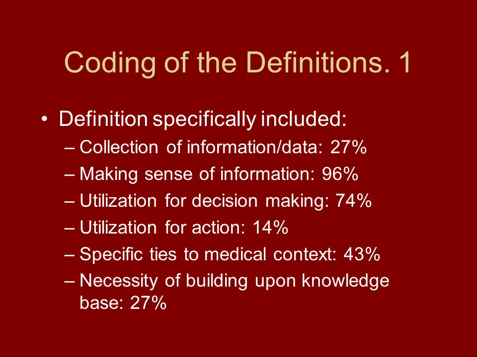 Coding of the Definitions. 1 Definition specifically included: –Collection of information/data: 27% –Making sense of information: 96% –Utilization for
