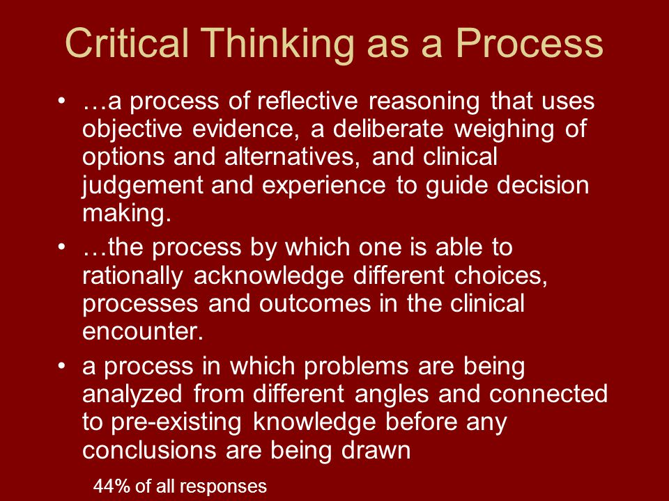 Critical Thinking as a Process …a process of reflective reasoning that uses objective evidence, a deliberate weighing of options and alternatives, and