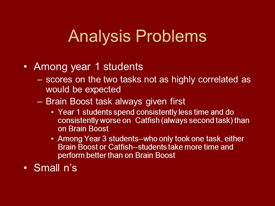 Analysis Problems Among year 1 students –scores on the two tasks not as highly correlated as would be expected –Brain Boost task always given first Ye