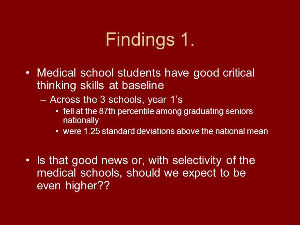 Findings 1. Medical school students have good critical thinking skills at baseline –Across the 3 schools, year 1's fell at the 87th percentile among g