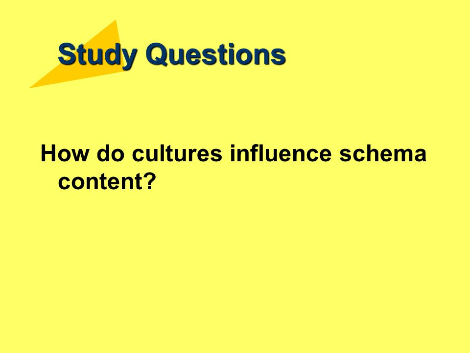 Study Questions How do cultures influence schema content?