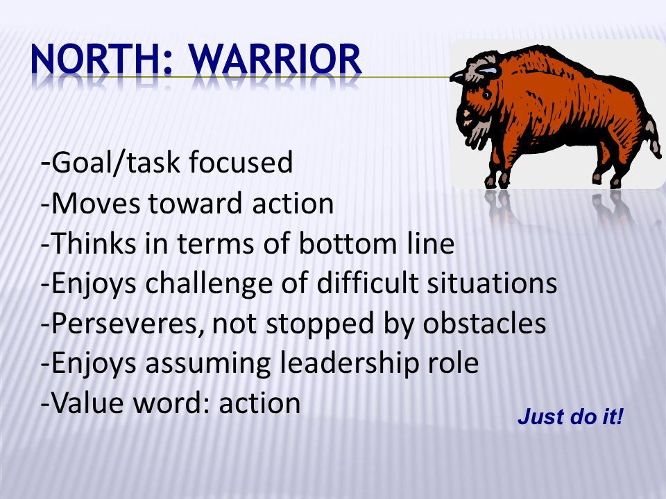 - Goal/task focused -Moves toward action -Thinks in terms of bottom line -Enjoys challenge of difficult situations -Perseveres, not stopped by obstacl