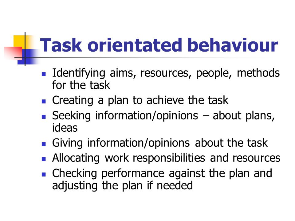 Task orientated behaviour Identifying aims, resources, people, methods for the task Creating a plan to achieve the task Seeking information/opinions – about plans, ideas Giving information/opinions about the task Allocating work responsibilities and resources Checking performance against the plan and adjusting the plan if needed