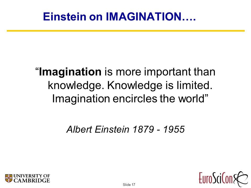 Slide 17 Einstein on IMAGINATION…. Imagination is more important than knowledge.