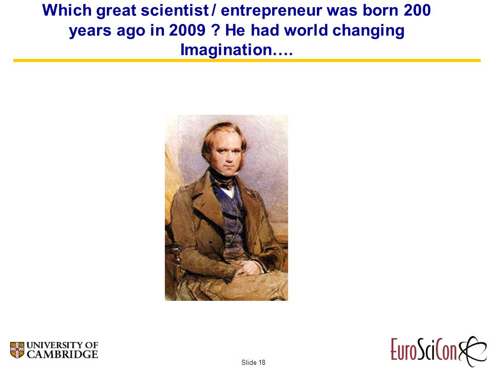 Slide 18 Which great scientist / entrepreneur was born 200 years ago in 2009 .