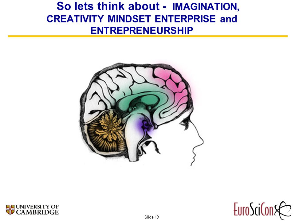 Slide 19 So lets think about - IMAGINATION, CREATIVITY MINDSET ENTERPRISE and ENTREPRENEURSHIP