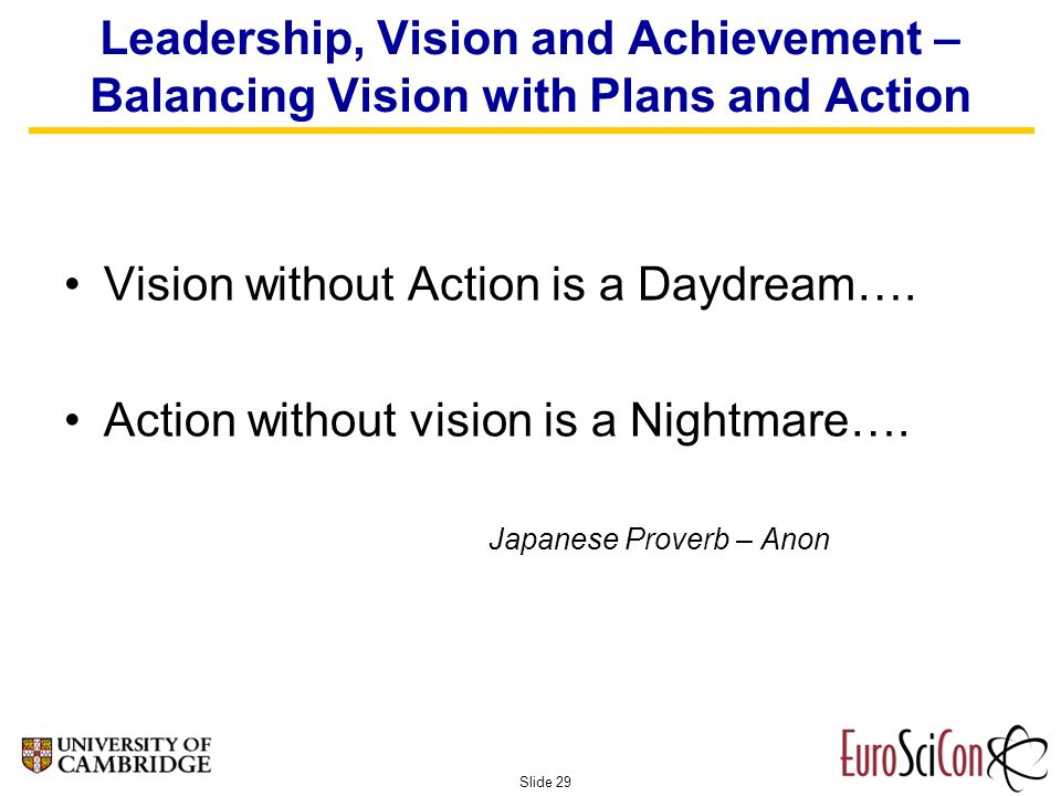 Slide 29 Leadership, Vision and Achievement – Balancing Vision with Plans and Action Vision without Action is a Daydream….