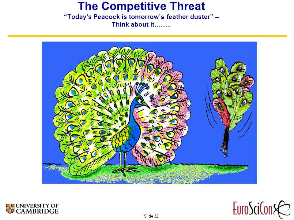 Slide 32 The Competitive Threat Today's Peacock is tomorrow's feather duster – Think about it……..