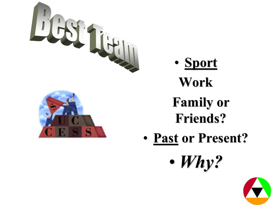 SportSportWork Family or Friends Family or Friends Past or Present Past or Present Why Why