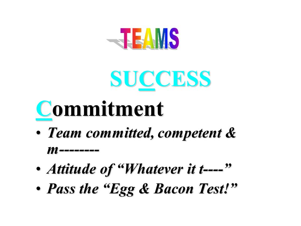 SUCCESS Commitment Team committed, competent & m--------Team committed, competent & m-------- Attitude of Whatever it t---- Attitude of Whatever it t---- Pass the Egg & Bacon Test! Pass the Egg & Bacon Test!