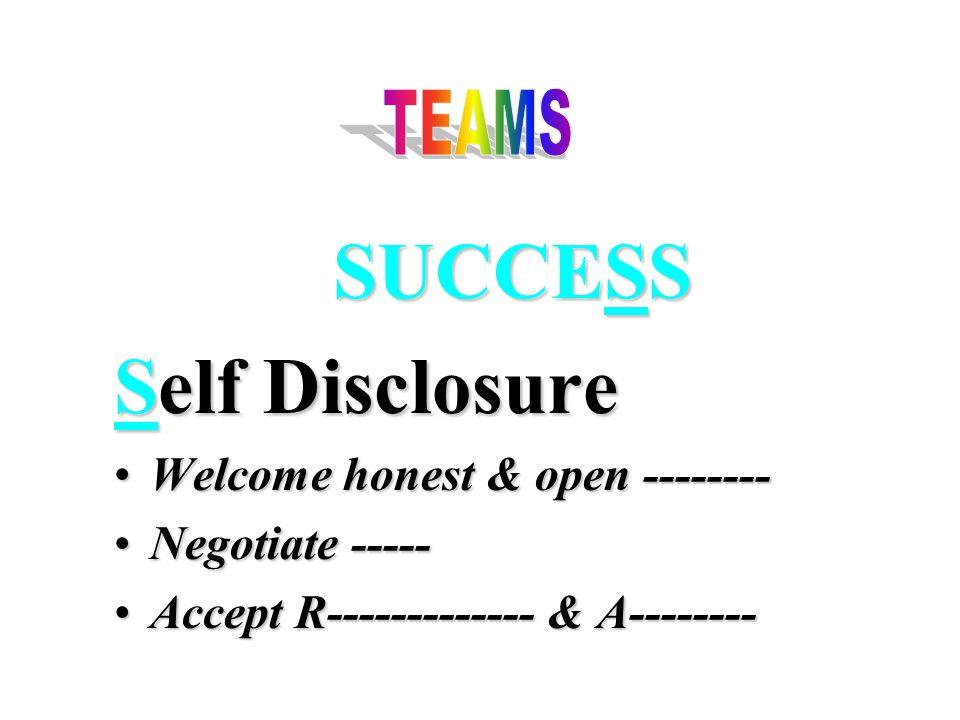 SUCCESS Self Disclosure Welcome honest & open --------Welcome honest & open -------- Negotiate -----Negotiate ----- Accept R------------- & A--------Accept R------------- & A--------