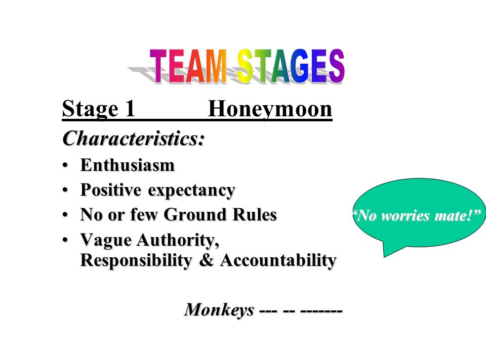 Stage 1HoneymoonCharacteristics: EnthusiasmEnthusiasm Positive expectancyPositive expectancy No or few Ground RulesNo or few Ground Rules Vague Authority, Responsibility & AccountabilityVague Authority, Responsibility & Accountability Monkeys --- -- ------- No worries mate! No worries mate!