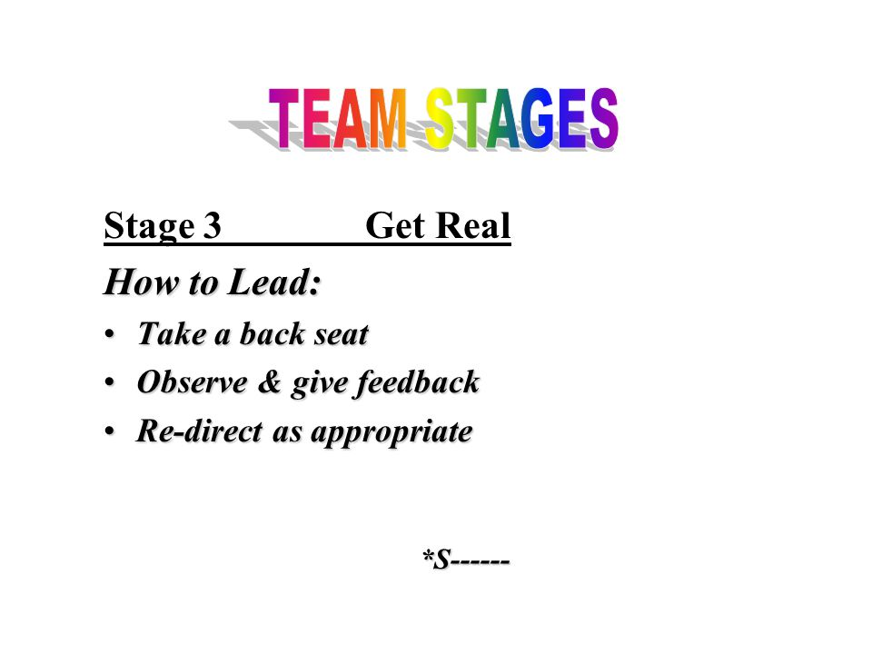 Stage 3Get Real How to Lead: Take a back seatTake a back seat Observe & give feedbackObserve & give feedback Re-direct as appropriateRe-direct as appropriate*S------
