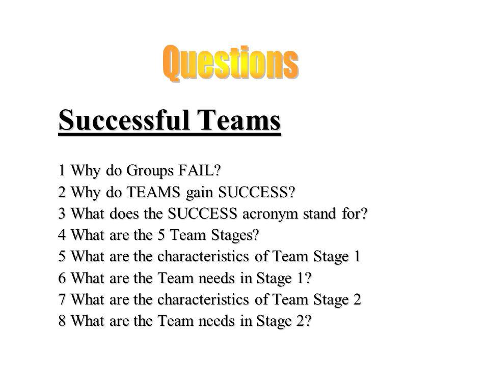 Successful Teams 1 Why do Groups FAIL. 2 Why do TEAMS gain SUCCESS.