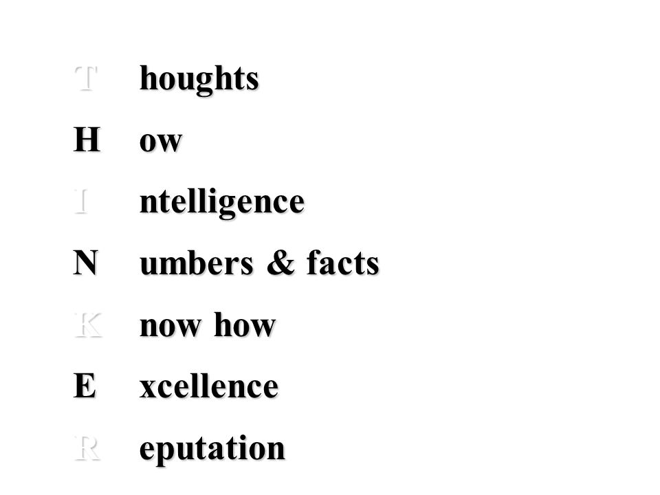 Thoughts How Intelligence Numbers & facts Know how Excellence Reputation