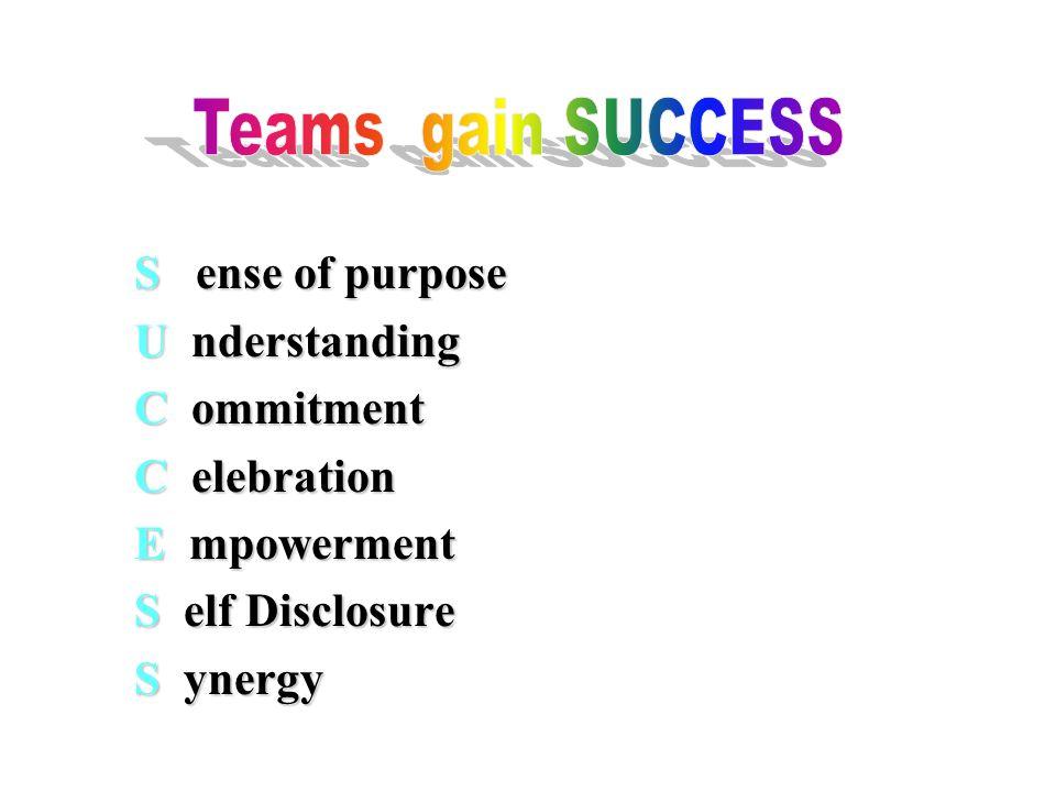 S ense of purpose U nderstanding C ommitment C elebration E mpowerment S elf Disclosure S ynergy