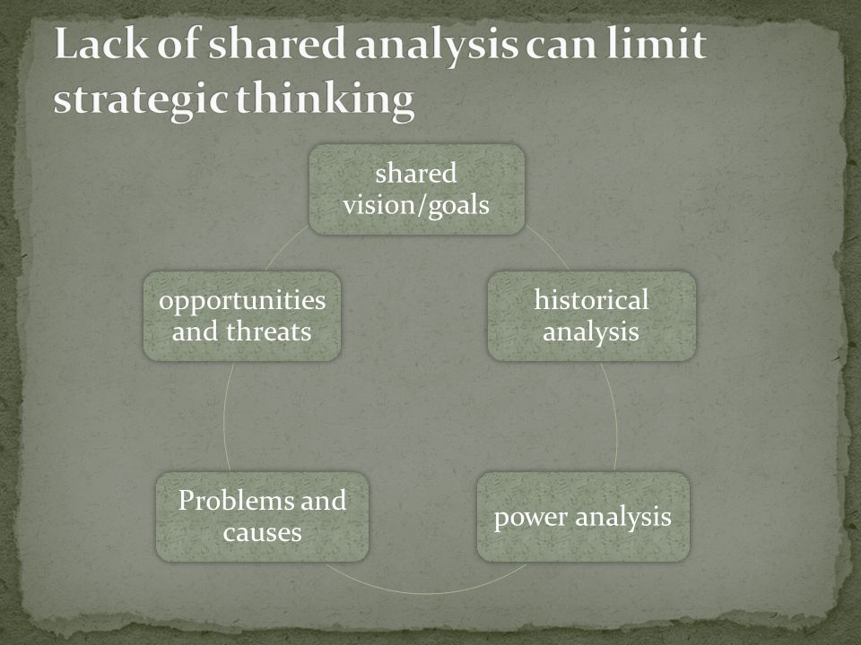 shared vision/goals historical analysis power analysis Problems and causes opportunities and threats