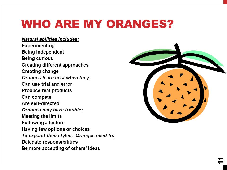 11 WHO ARE MY ORANGES? Natural abilities includes: Experimenting Being Independent Being curious Creating different approaches Creating change Oranges