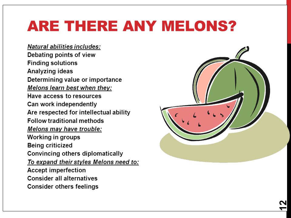 12 ARE THERE ANY MELONS? Natural abilities includes: Debating points of view Finding solutions Analyzing ideas Determining value or importance Melons