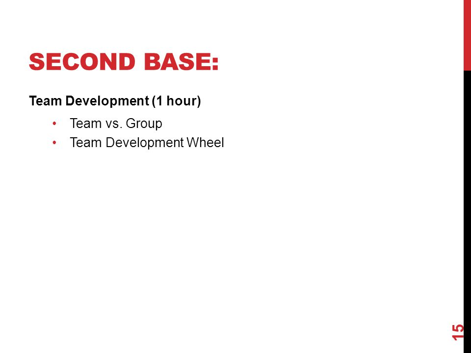 SECOND BASE: Team Development (1 hour) Team vs. Group Team Development Wheel 15