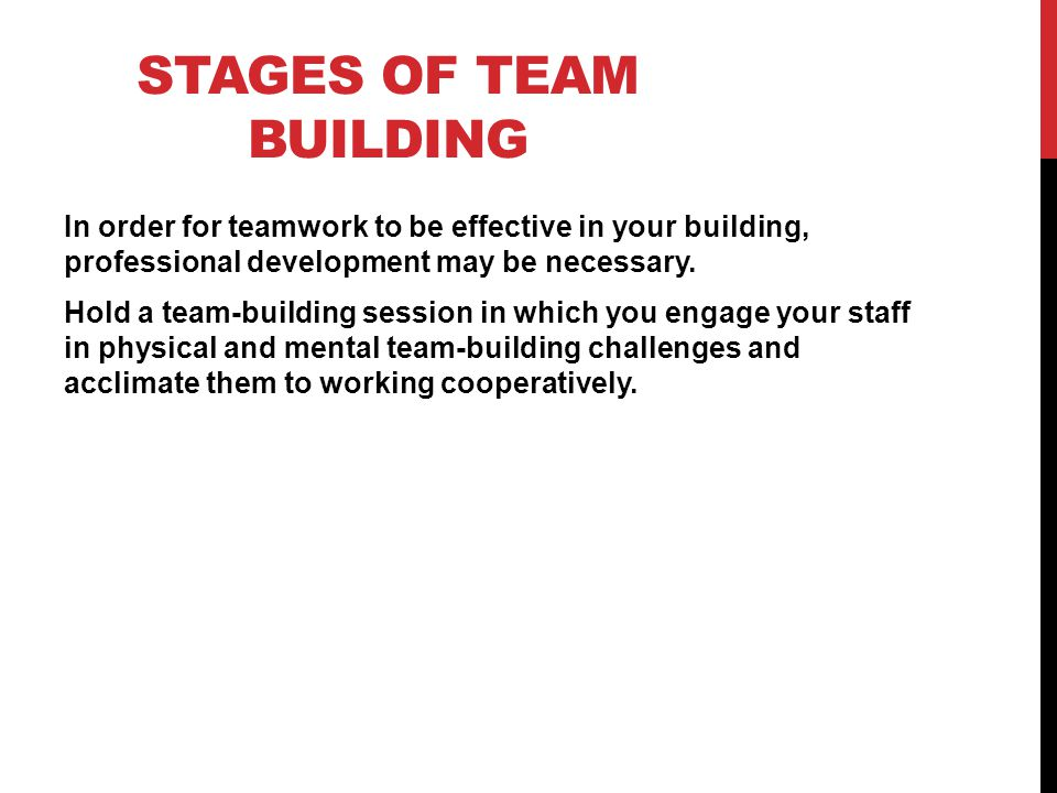 STAGES OF TEAM BUILDING In order for teamwork to be effective in your building, professional development may be necessary. Hold a team-building sessio