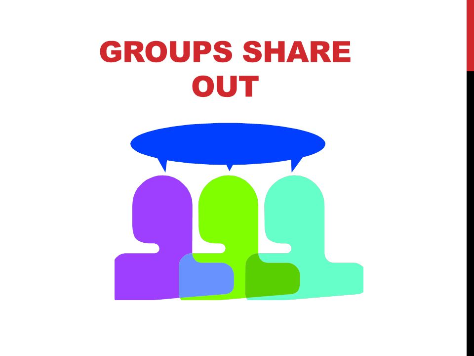 GROUPS SHARE OUT