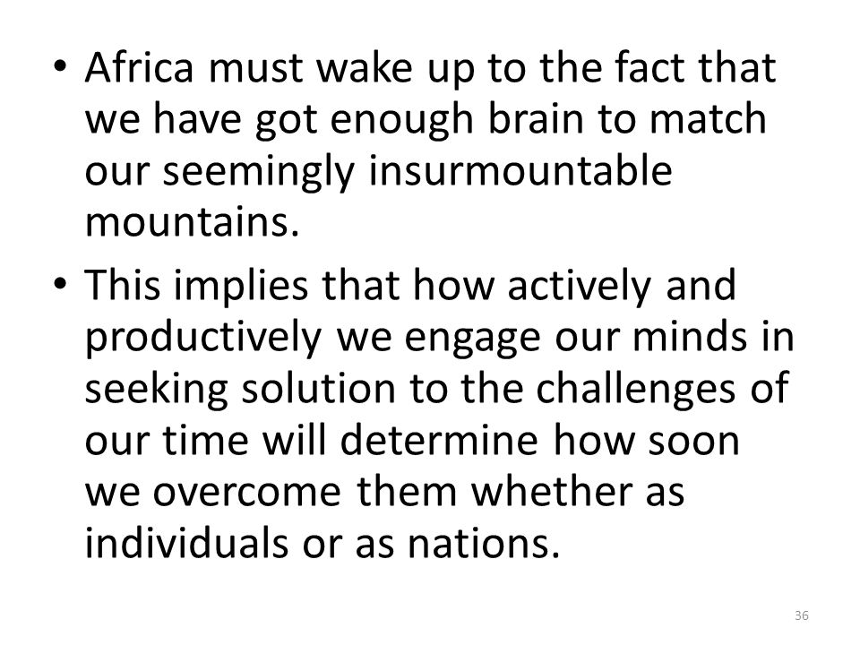 Africa must wake up to the fact that we have got enough brain to match our seemingly insurmountable mountains.