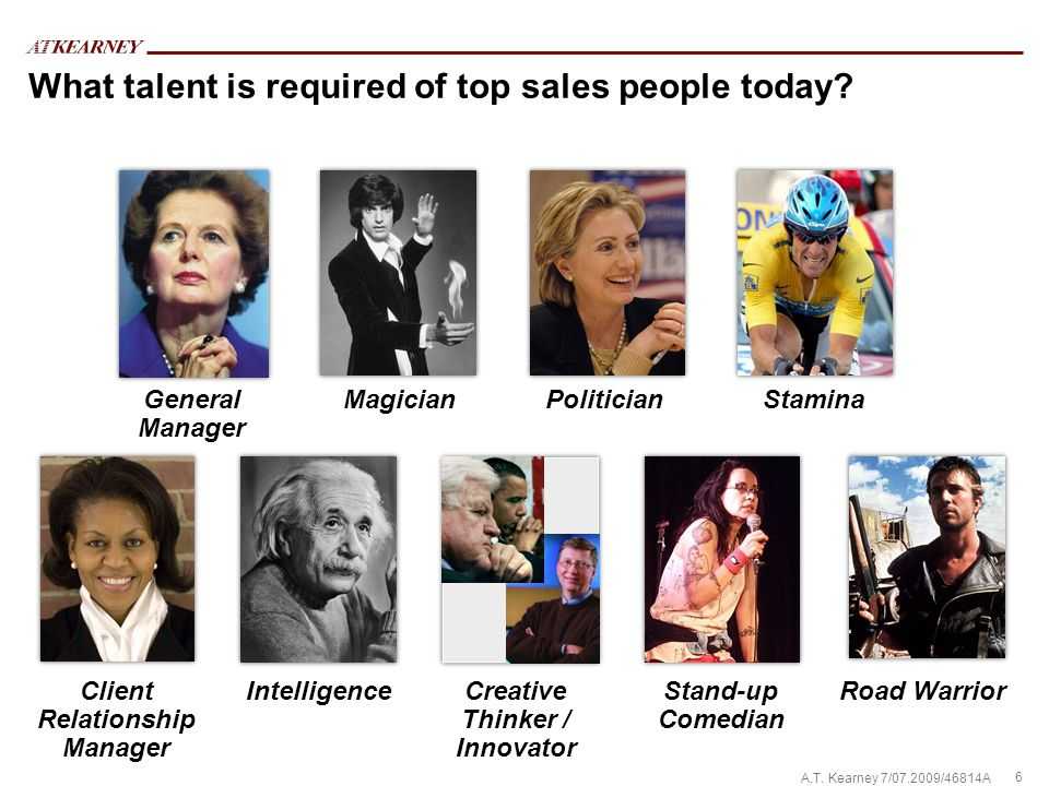 6 A.T. Kearney 7/07.2009/46814A What talent is required of top sales people today.