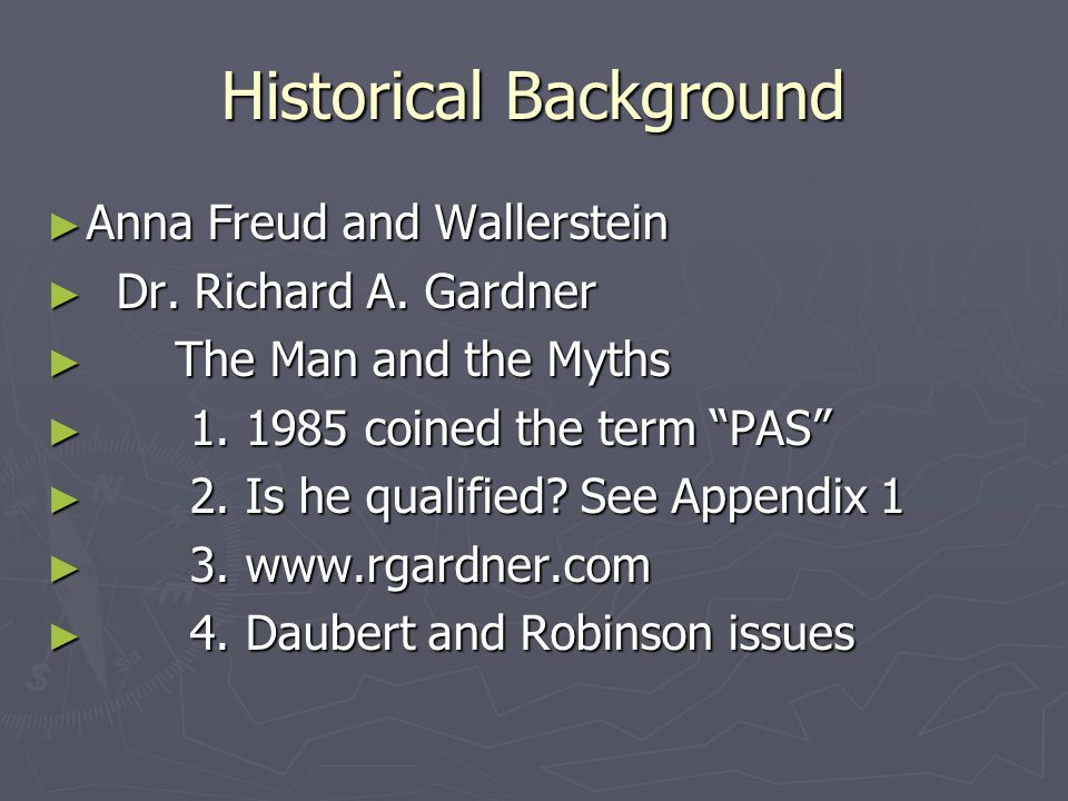 Historical Background ► Anna Freud and Wallerstein ► Dr.