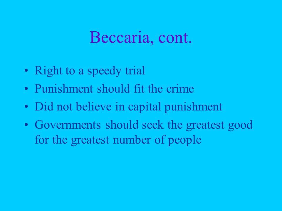 Beccaria, cont.