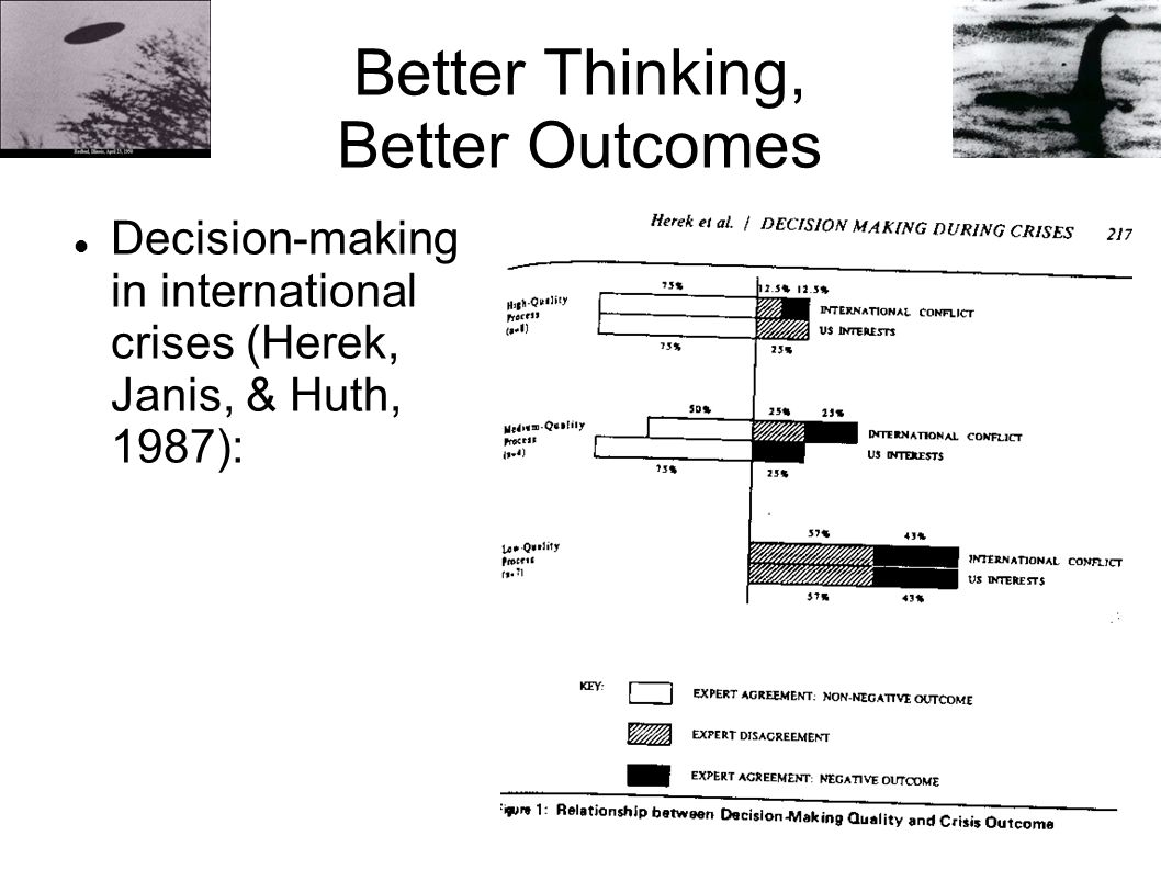 Better Thinking, Better Outcomes Decision-making in international crises (Herek, Janis, & Huth, 1987):