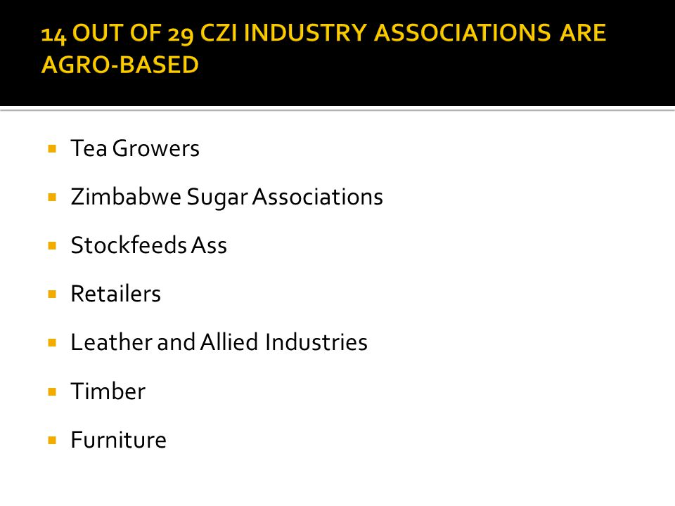  Tea Growers  Zimbabwe Sugar Associations  Stockfeeds Ass  Retailers  Leather and Allied Industries  Timber  Furniture