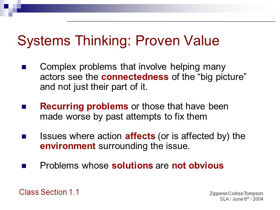 Zipperer/Corliss/Tompson SLA / June 6 th / 2004 Systems Thinking: Proven Value Complex problems that involve helping many actors see the connectedness