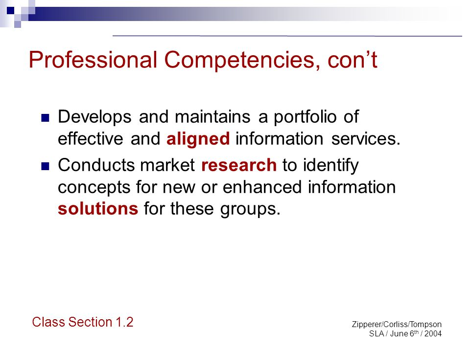 Zipperer/Corliss/Tompson SLA / June 6 th / 2004 Professional Competencies, con't Develops and maintains a portfolio of effective and aligned informati