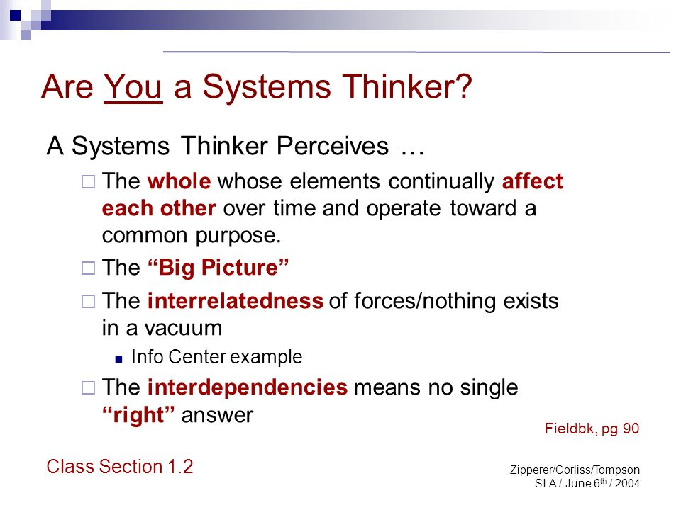 Zipperer/Corliss/Tompson SLA / June 6 th / 2004 Are You a Systems Thinker? A Systems Thinker Perceives …  The whole whose elements continually affect